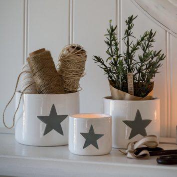 Set of 3 Grey Star Pots